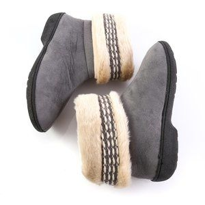 isotoner Shoes - Isotoner Gray Faux Fur Slippers Collar Booties